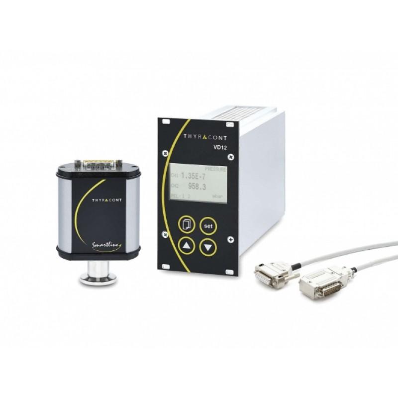 VD1253P Набор из контроллера двухканального VD12S2 и комбинированного вакуумного пьезорезистивного датчика/датчика Пирани VSR53D без дисплея на фланце KF16, 1200-1е-4 мбар, соединительный кабель 2 м