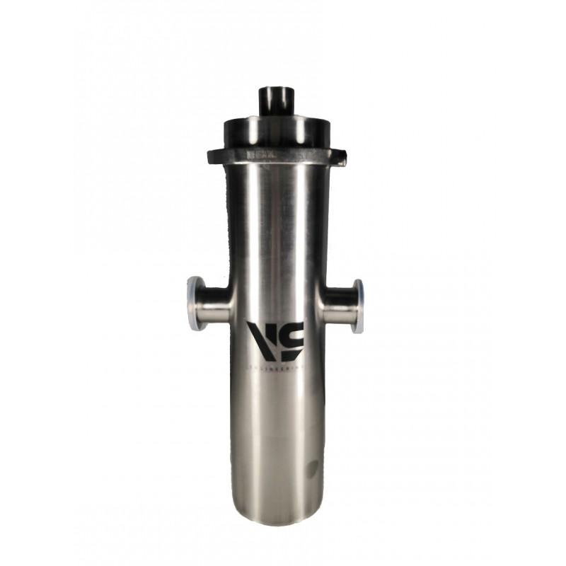 Ловушка азотная заливная, объем 3 литра, кол-во фланцев KF40 - 2 шт, нерж. сталь, крышка на хомуте, фланцы по центру