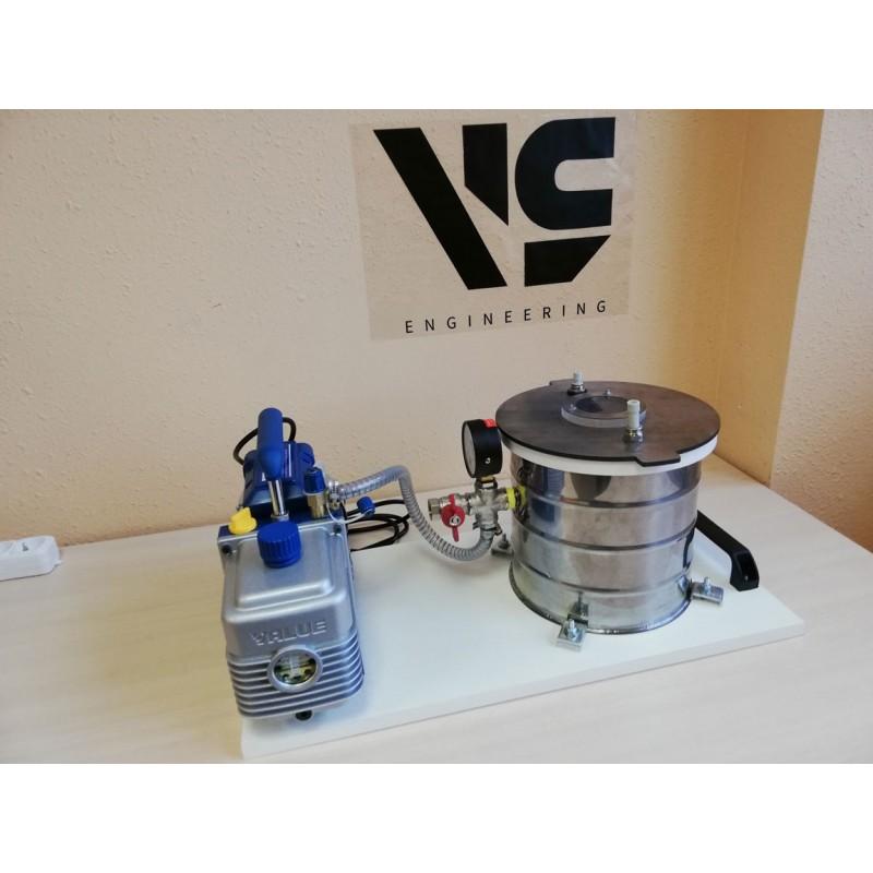 Настольная установка для вакуумной инфузии и дегазации силикона VLSin-5/6/SS (нерж. сталь)