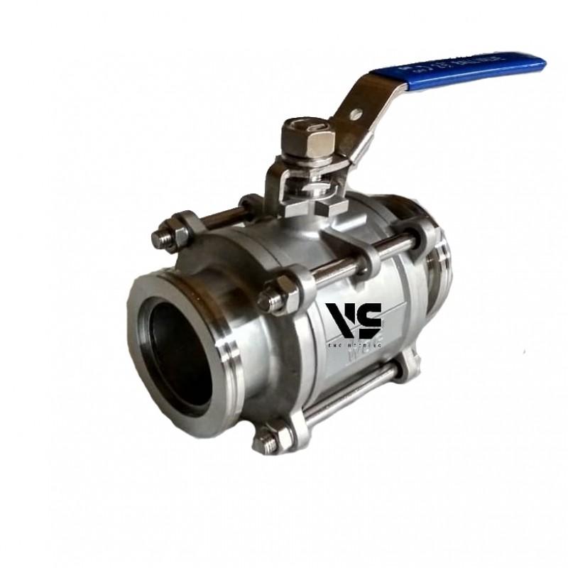 Прямоточный клапан ISO250 ручной, шаровой (нержавеющая сталь)